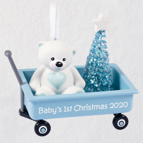 Baby Boy's First Christmas Blue Wagon 2020 Ornament