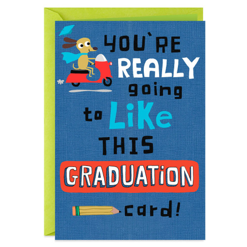 Dog on a Scooter Funny Graduation Card