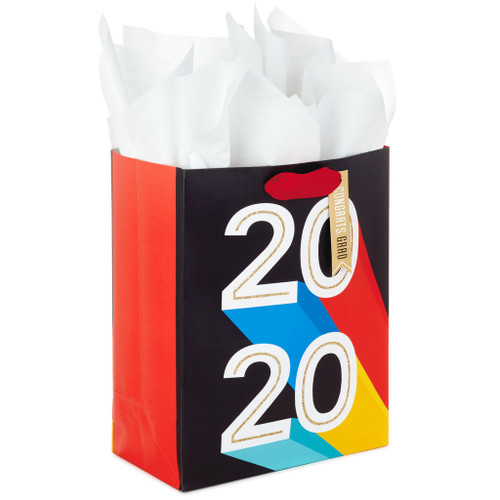 "9.6"" Bold 2020 Graduation Gift Bag With Tissue"