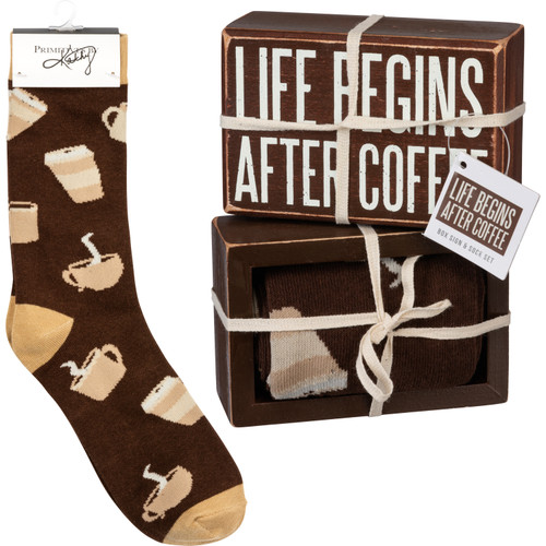 Box Sign & Sock Set - Life Begins After Coffee