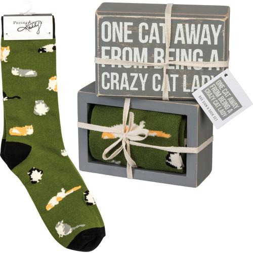 Box Sign & Sock Set - One Cat Away
