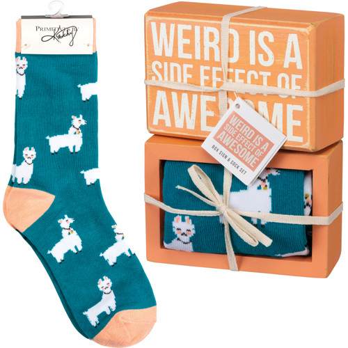 Box Sign & Sock Set - Weird Side Effect Of Awesome