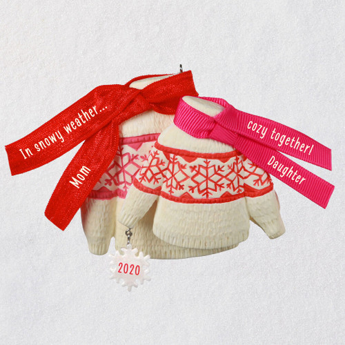 Cozy Together Mom and Daughter Matching Sweaters 2020 Ornament