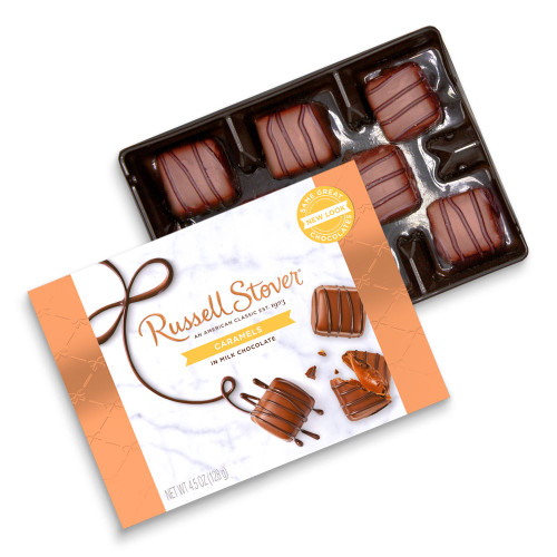 Russell Stover Caramels in Milk Chocolate 4.5 oz box