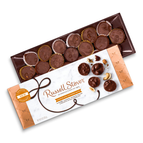 Russell Stover Chocolate Covered Nuts box 9 oz