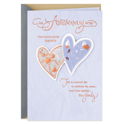 Two Hearts Anniversary Card for Parents
