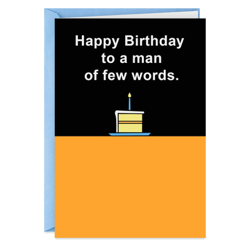 For a Man of Few Words Funny Birthday Card
