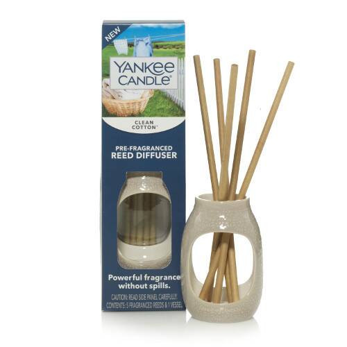 Yankee Candle Pre-Fragranced Reed Diffuser Set Clean Cotton