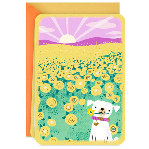 Dog With Sunflowers Blank Card