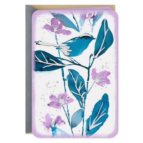 Blue Bird and Purple Flowers Blank Card
