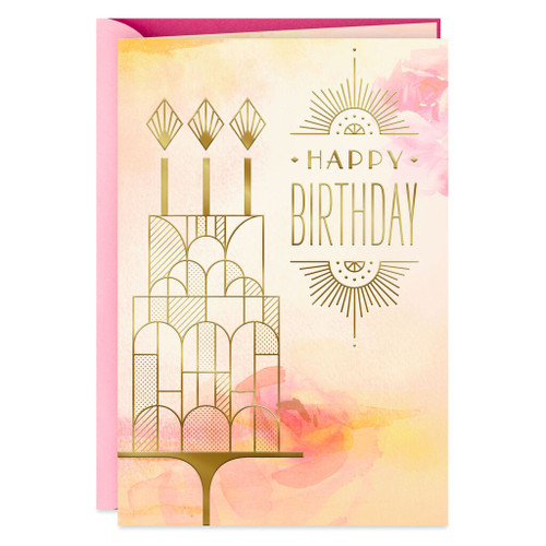 Art Deco Cake Day of Love and Laughter Birthday Card