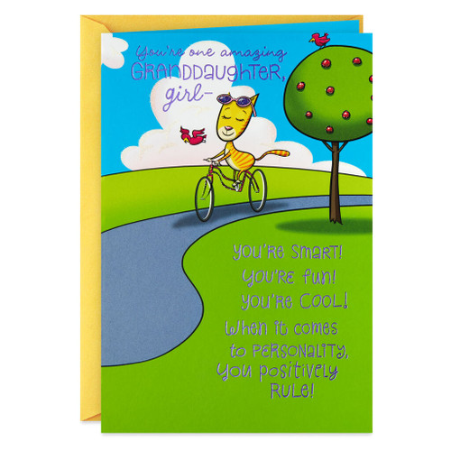 Cat on a Bike You're Amazing Funny Birthday Card for Granddaughter