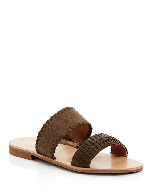 Tinsley Slide Sandals Olive Suede