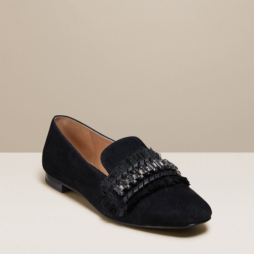 Beatrix Jeweled Suede Loafer Black