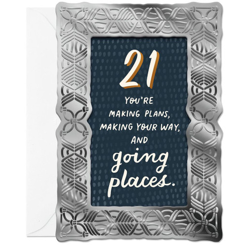 You Are Going Places 21st Birthday Card With Silver Frame