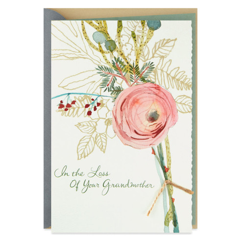 Floral Bouquet With Gold Sympathy Card for Loss of Grandmother