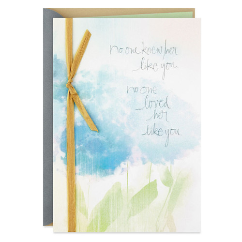 Watercolor Flowers for Your Wife Sympathy Card