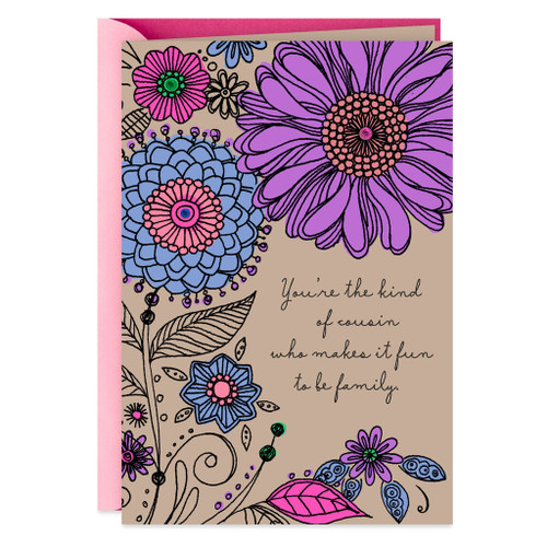 Bold Flowers Birthday Card for Cousin