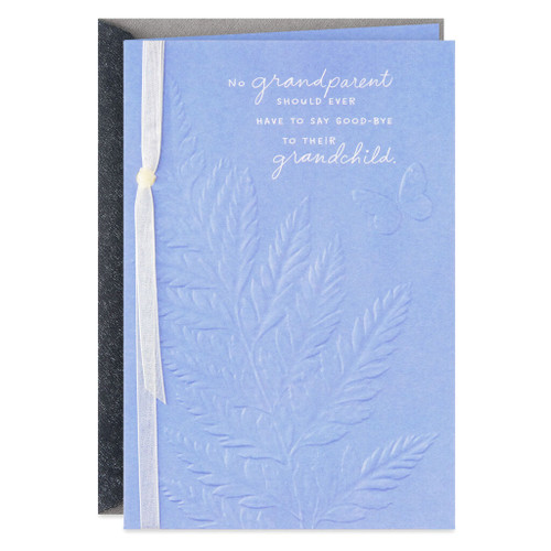 Fern Leaf With Butterfly Sympathy Card for Loss of a Grandchild