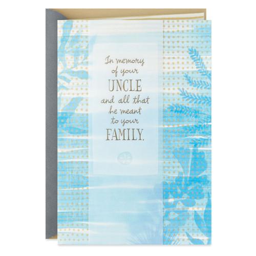 Blue Watercolor Plants Loss of Uncle Sympathy Card