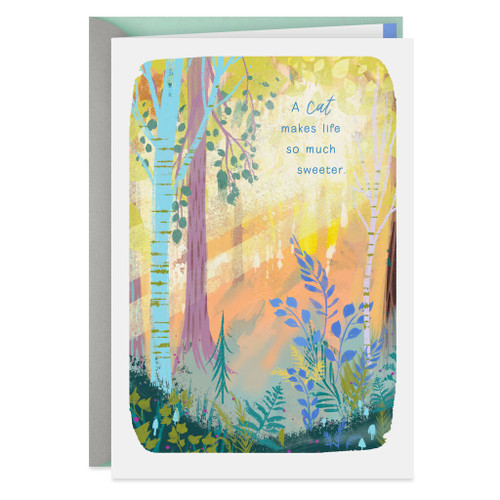 Sunlight in the Forest Sympathy Card for Loss of Cat