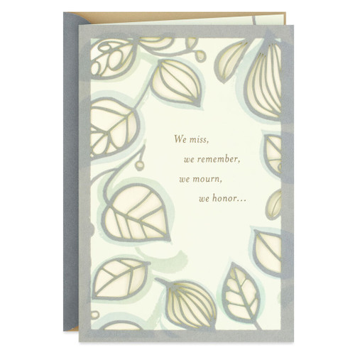 Leaf Pattern We Love and Remember Sympathy Card