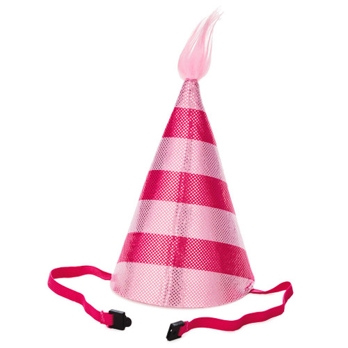 Pink Striped Fabric Party Hat