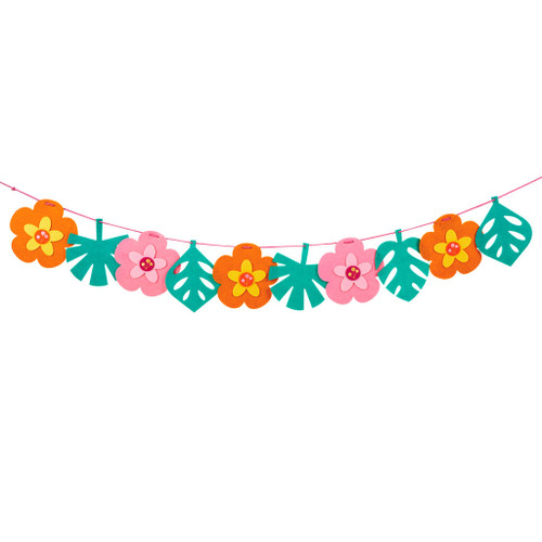 """Tropical Flowers and Leaves Felt Party Banner, 96"""""""
