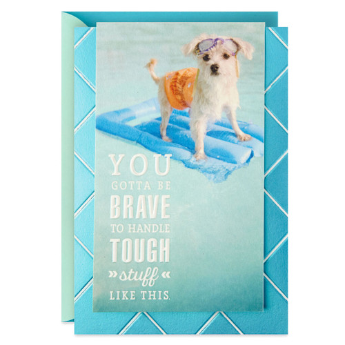 Dog on Inflatable Raft Encouragement Card