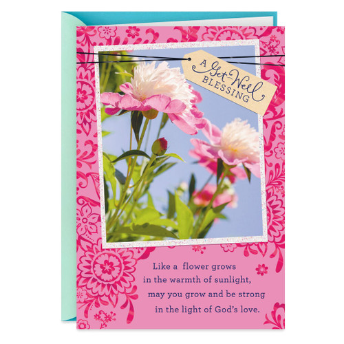 Peony Flower Photo With Blessing Get Well Card