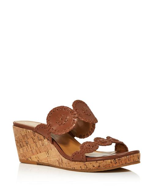 Lauren Wedge Sandals - Cognac