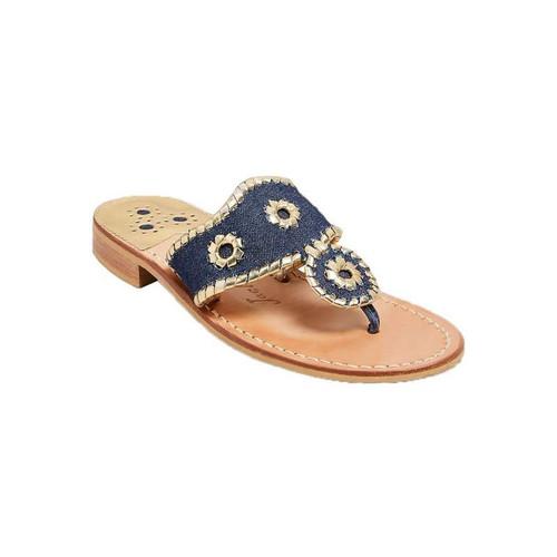 Jacks Flat Sandal - Denim/Gold