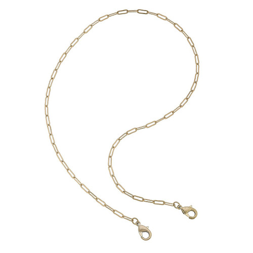 Soleil Small Paperclip Chain Mask Necklace in Worn Gold - 20""