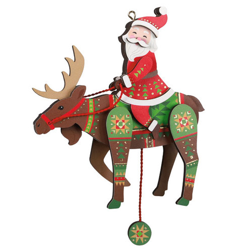 Pull-String Moose With Santa Wood Ornament