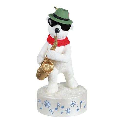 Stylin' Saxophone Bear Musical Ornament