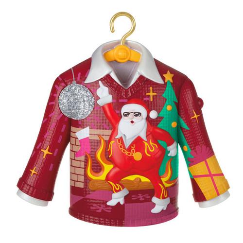 Disco Inferno Santa Crazy Christmas Sweater Musical Ornament