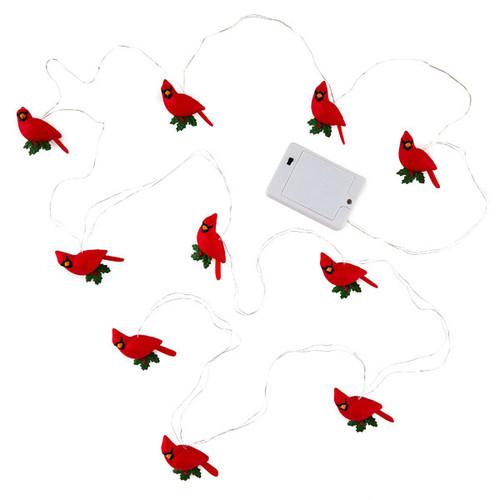 Decorative Cardinals 10-Light Christmas String Lights, 10'
