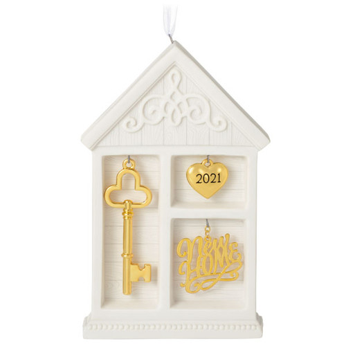 New Home 2021 Porcelain and Metal Ornament