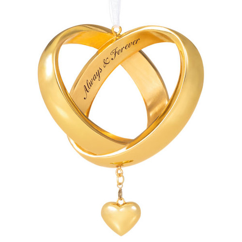 Always & Forever Anniversary Intertwined Wedding Bands Metal Ornament