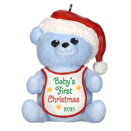 Baby Boy's First Christmas Blue Bear 2021 Ornament