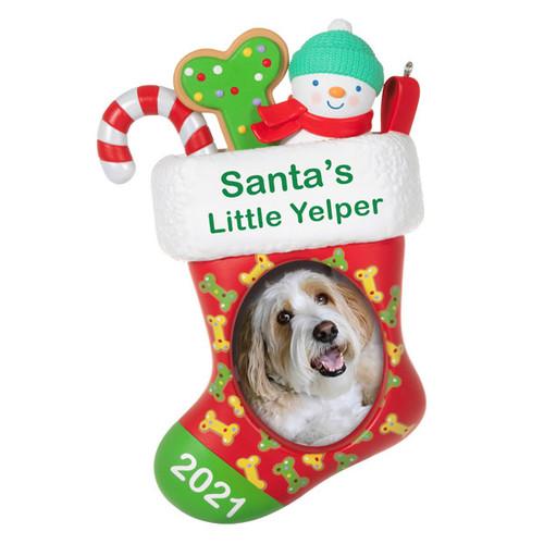 Santa's Little Yelper 2021 Photo Frame Ornament