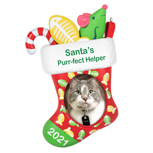 Santa's Purr-fect Helper 2021 Photo Frame Ornament