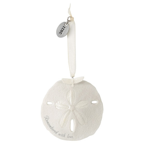 Remembered With Love Memorial Sand Dollar 2021 Porcelain Ornament