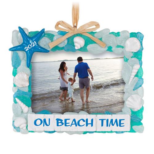 On Beach Time Seashells 2021 Photo Frame Ornament