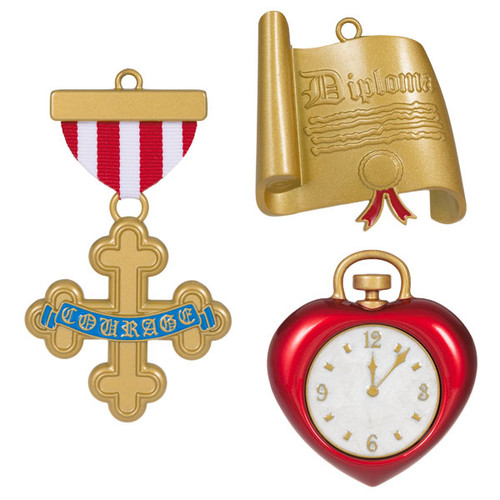 The Wizard of Oz™ Courage, Brain, and Heart Metal Ornaments, Set of 3
