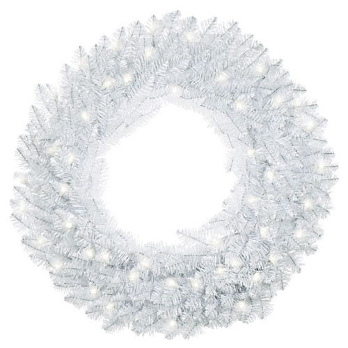"""Sparkling White Wreath With Lights, 30"""""""