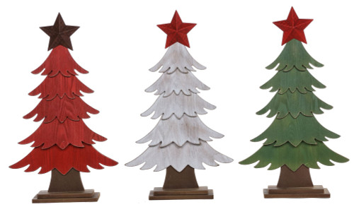 Small Wooden Red/Green/White Trees