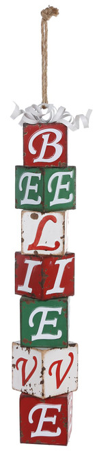 Mantle Red/White/Green Believe Stack Hang