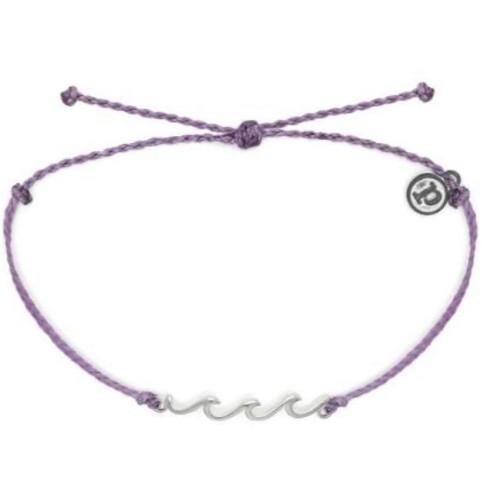 Pura Vida Delicate Wave Silver Lavender Bracelet
