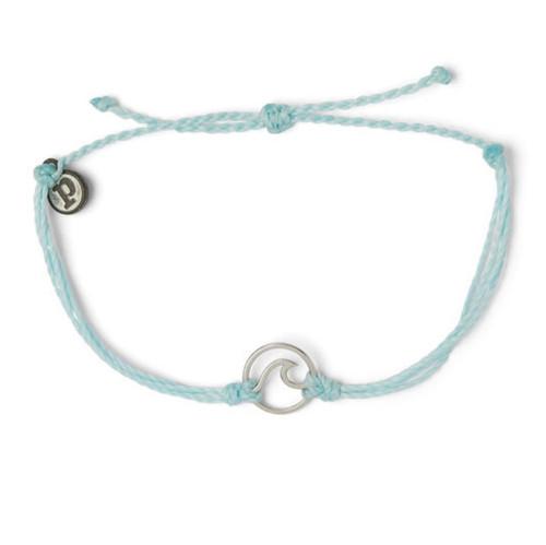 Pura Vida Silver Wave Charm Ice Blue Bracelet